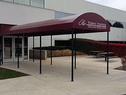 Image of a red metal awning